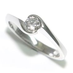 Solitaire Diamond Engagement Rings - Curved Band
