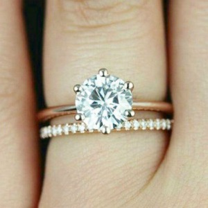 Engagement Wedding Ring Delicate Pave & Solitaire