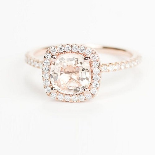 Square Engagement Ring Rose Gold