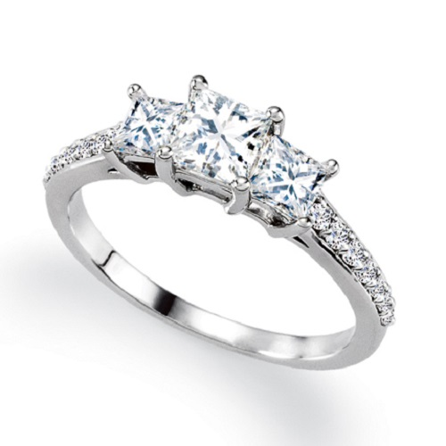 Square Engagement Ring Three Stone