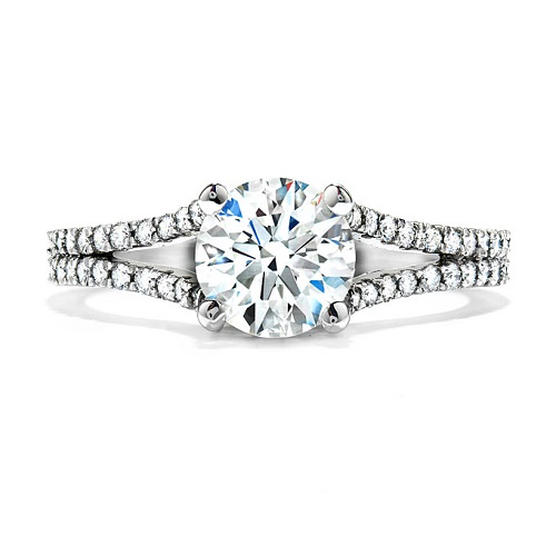 Pave Engagement Rings Split Band