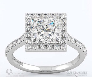Incredible Square Cut Engagement Rings - Princess Halo