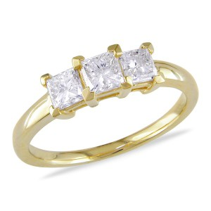 Incredible Square Cut Engagement Rings - Three Stone