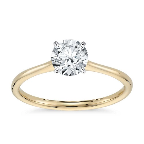 Dazzling Yellow Gold Engagement Rings - Delicate Solitaire