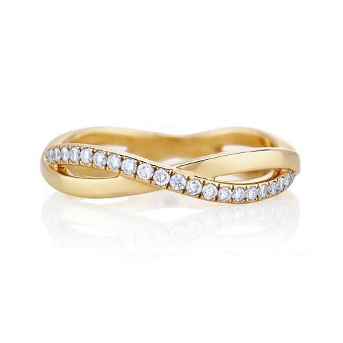 Dazzling Yellow Gold Engagement Rings - Infinity Pave