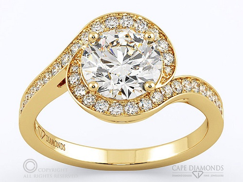 Dazzling Yellow Gold Engagement Rings - Round Twisted Claw Pave