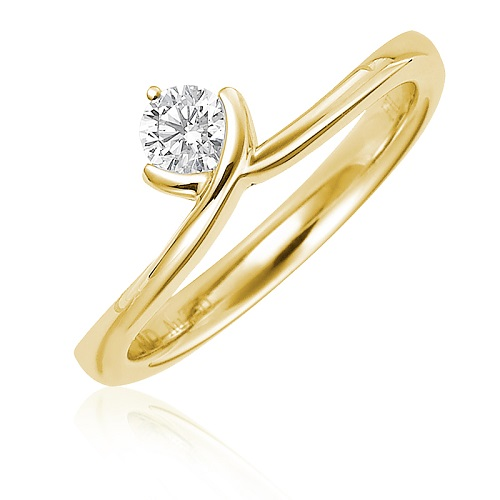 Dazzling Yellow Gold Engagement Rings - V Shape Solitaire