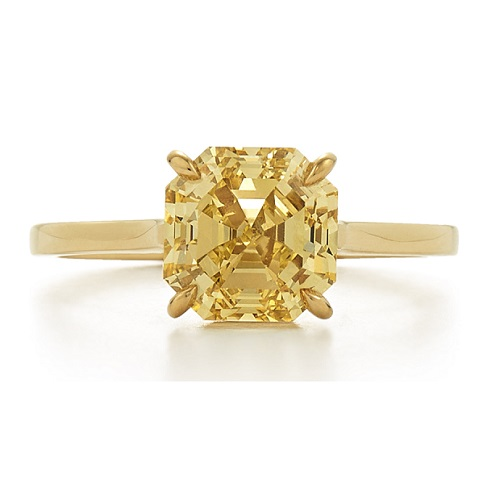 Dazzling Yellow Gold Engagement Rings - Yellow Asscher Cut