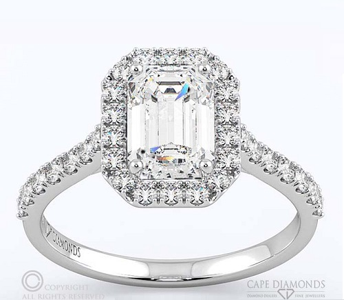 Elegant Emerald Cut Engagement Rings - Halo