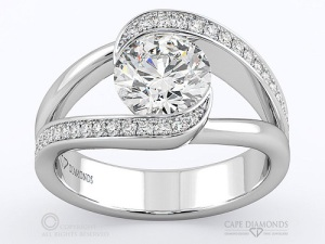 Spectacular Split Band Engagement Rings - Pave