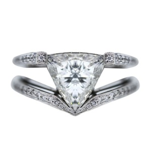 Gorgeous Trillion Engagement Rings - Double Band