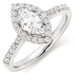 Exquisite Platinum Engagement Rings - Marquise