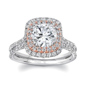 Dreamy Two Tone Engagement Rings - Double Cushion