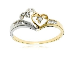 Dreamy Two Tone Engagement Rings - Two Hearts