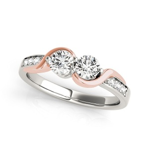 Dreamy Two Tone Engagement Rings - Two Stone