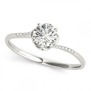 Romantic Floral Inspired Engagement Rings - Delicate Platinum Flower