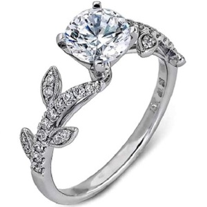 Romantic Floral Inspired Engagement Rings - Pave Vine Band