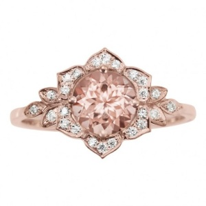Romantic Floral Inspired Engagement Rings - Rose Gold Morganite Lilly