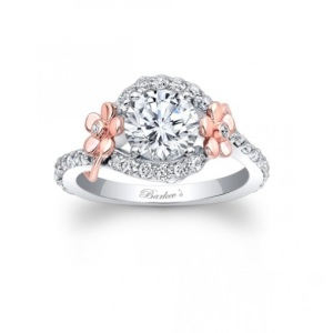 Romantic Floral Inspired Engagement Rings - Two Tone Side Flower