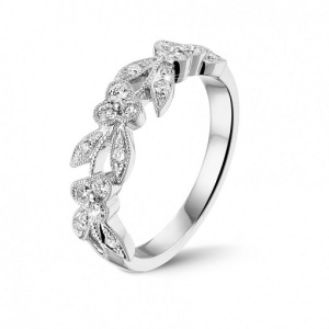 Romantic Floral Inspired Engagement Rings - White Gold Floral Eternity