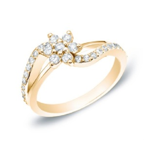 Romantic Floral Inspired Engagement Rings - Yellow Gold Split Shank Flower