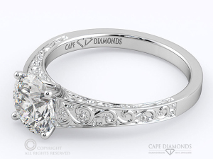 Adding Profile Detail on Your Engagement Ring - Engraved Plant Motif