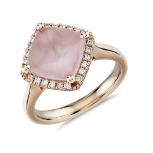 Romantic Rose Quartz Engagement Rings - Cushion Halo
