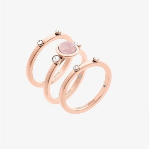 Romantic Rose Quartz Engagement Rings - Minimal Stacked