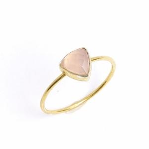 Romantic Rose Quartz Engagement Rings - Minimal Trillion