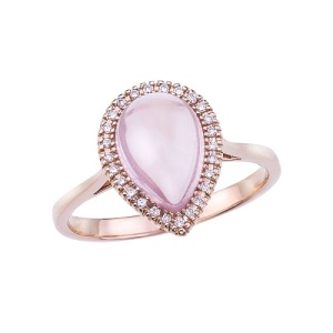 Romantic Rose Quartz Engagement Rings - Pave Pear