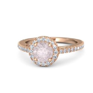Romantic Rose Quartz Engagement Rings - Round Halo