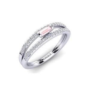 Romantic Rose Quartz Engagement Rings - Split Band Pave
