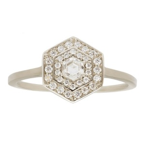 Get Inspired By These Exquisite Hexagon Engagement Rings - Double Halo