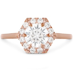 Get Inspired By These Exquisite Hexagon Engagement Rings - Rose Gold Halo