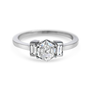 Get Inspired By These Exquisite Hexagon Engagement Rings - Three Stone