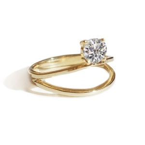 Dreamy Double Band Engagement Rings - Floating Diamond