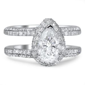 Dreamy Double Band Engagement Rings - Pave Pear