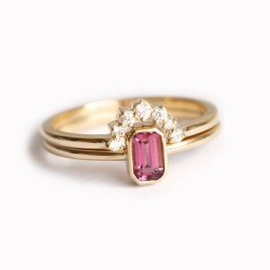Tantalising Tourmaline Engagement Rings - Double Ring