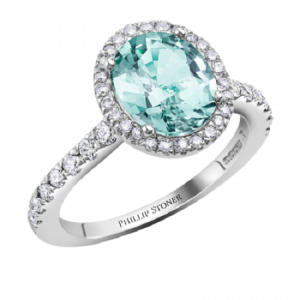 Tantalising Tourmaline Engagement Rings - Halo Pave