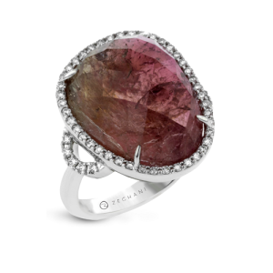 Tantalising Tourmaline Engagement Rings - Watermelon Halo