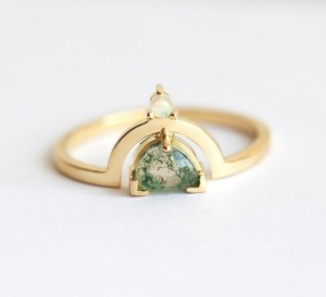 Unique Engagement Ring Ideas - Moss Agate Crescent Ring