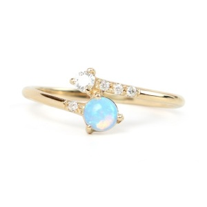 Unique Engagement Ring Ideas - Opal and Diamond Crossover Ring