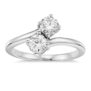 Romantic Two Stone Engagement Rings - Entwined Diamonds