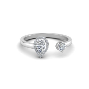 Romantic Two Stone Engagement Rings - Open Pear