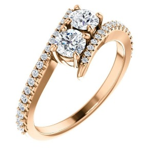Romantic Two Stone Engagement Rings - Pave Twist