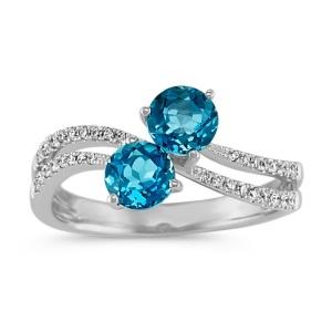 Romantic Two Stone Engagement Rings - Topaz Swirls