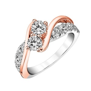 Romantic Two Stone Engagement Rings - Two Tone