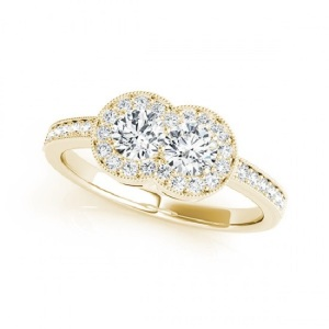 Romantic Two Stone Engagement Rings - Vintage Pave