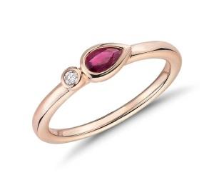 Beautiful Bezel Engagement Rings - Diamond Ruby
