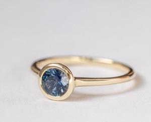 Beautiful Bezel Engagement Rings - Gold Sapphire